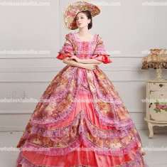 18th Century Rococo Style Marie Antoinette Inspired Prom Dress Wedding Ball Gown WATERMELON