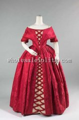 Early 1840s Pre-hood Era Silk & Cotton Victorian Ball Gown