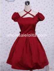 Cute Red Cotton Short Sleeves Ruffled Classic Lolita Dress