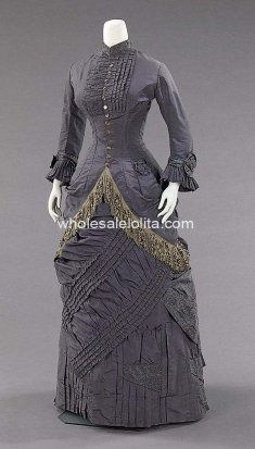 Custom Made 1878-82 Dark Gray Victorian Bustle Afternoon Dress