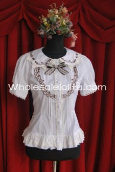 Ladies Beige Cotton Doll Collar Short Sleeves Sweet Lolita Blouse