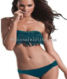 Beach Navy Blue Sexy Fringe Bikini Top and Bottom Set