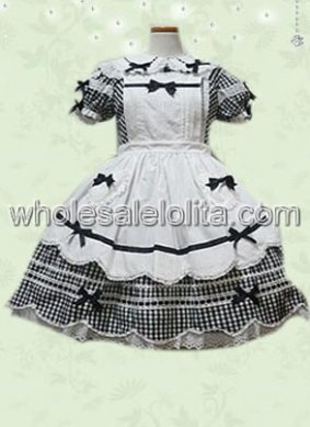 Black and White Sweet Lolita Dress with Short Sleeves