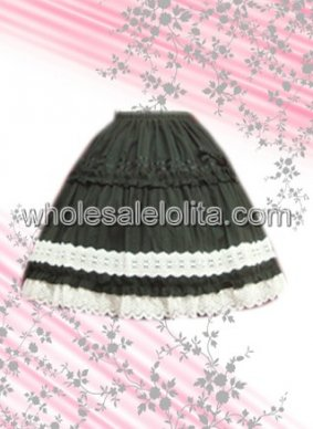 Black Cotton Lolita Skirt