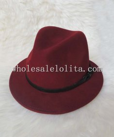 British Vintage Genuine Leather Belt Wool Ladies Fedora Hat