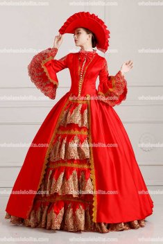 18th Century Rococo Style Marie Antoinette Inspired Prom Dress Wedding Ball Gown Red