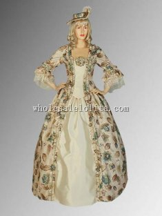 Custom Made Renaissance Medieval Floral Ball Costume Gown