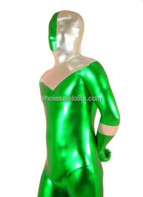 Green With Silver Lycra Spandex Zentai Costume