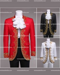 High-end Customized Black/Red/White Mens Palace Suit General Blazer Suits Medieval Mens Period Costume