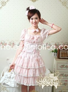 Princess Pink Short Sleeves Chiffon Sweet Layered Lolita Dress