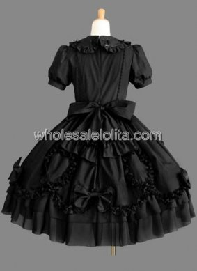 Black Short Sleeves Bow Cotton Gothic Lolita Dress