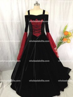 Black and Red Renaissance Medieval Handfasting Wedding Dress Custom Made