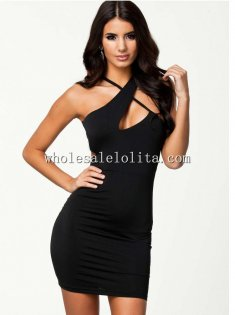 Sexy X-Back Black Sleeveless Bodycon Club Dress