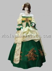 Vintage Green Off the Shoulder European Court Dress Ball Gown Wedding Dress
