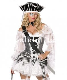 Halloween Pirates of the Caribbean Queen Pirate Costume Party Dress