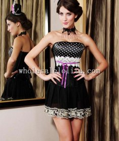 Fashion Black and White Dotted Satin Overbust Corset