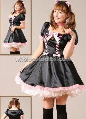 Black and Pink Short Sleeves Lace Satin Lolita Dress