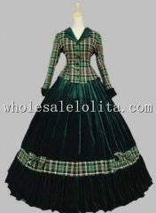 Civil War Gown Period Dress Tartan Velvet Reenactment Theatre Clothing