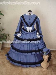 Late 1850's Day Dress Blue Cotton with Black Venice Lace