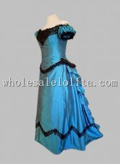 Blue 0ff-the-Shoulder Victorian Bustle Ball Gown Dress