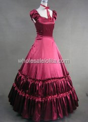 Elegant Burgundy Southern Belle Civil War Ball Gown Period Dress Reenactment Clothing