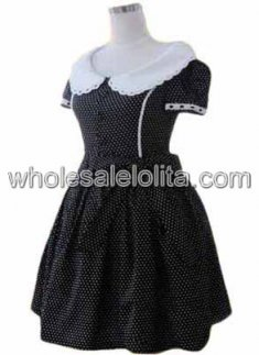 Checked Short Sleeves Cotton Classic Lolita Dress