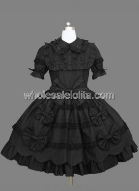 Black Gothic Lolita Dress with Short Sleeves and Bow