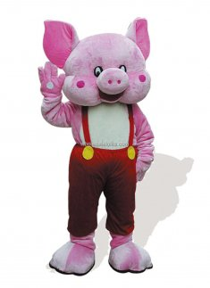 Pink Plush Adult Pig Costume In Red Suspender Trousers