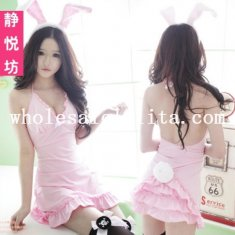 Sexy Pink/White Bunny Girl Sleepwear Cosplay Dress