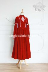 High-end Vintage Royal Court Pleuche Gown