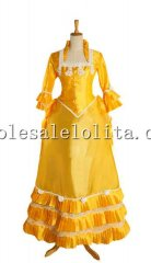 19th Century Yellow Stand Up Collar Victorian Bustle Dress Reenactment Costume