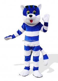 White And Blue Strips Adult Plush Mascot Cat Costume