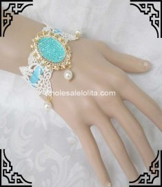 Fresh White & Light Blue Lace Pearl Popular Bride Bracelet