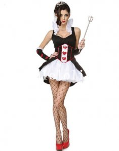 2014 Sexy Queen Cosplay Alice in Wonderland Queen of Hearts Halloween Costume
