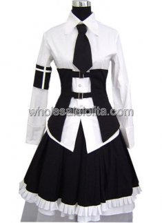 Pretty Ruffled Black and White Punk Lolita Dress