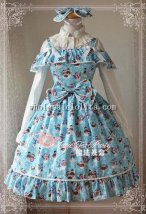 Magic Tea Party Little Snowman Printing JSK Sweet Lolita with KC