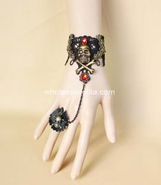 Gothic Black Red Lace Halloween Vampire Cosplay Pirate Skull Bracelet & Ring