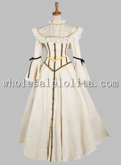 19th Century Beige Noble Victorian Era Dress with Shawl