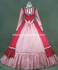 19th Century Victorian Gothic Red Lolita Dress Gown Renaissance Faire Clothing