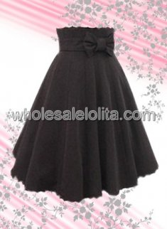 Black Bow Cotton Lolita Skirt Multilayer Designed