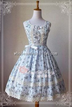 Elegant Wind Flower Printing Thin Cotton JSK Lolita