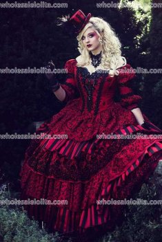 Hot Sale! Masquerade Circus Ball Gown Wedding Gothic Victorian Holiday Red Black 3 Piece Set One of a Kind! Any Size