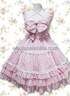 Pink and White Bow Lace Ruffles Cotton Sweet Lolita Dress