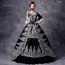 Black Halloween Dress Baroque Victorian Dress Victorian Women Dress Period Dress Ball Gown