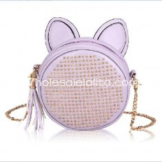Fashion Rivet Tassels Lovely Rabbit Ear Round Bag Single Shuolder Bag Messenger Bag