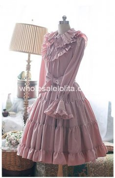 Pure Pink Tea-length Long Sleeves Lolita Dress