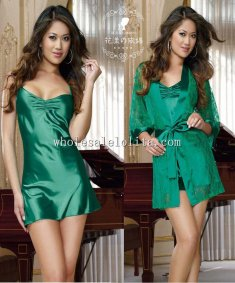 2pcs Green Satin Chemise with Lace Robe