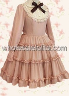 Pink Long Sleeves Bow Cotton Classic Lolita Dress