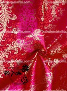 High-End Gold Red Floral Jacquard Silk Fabric