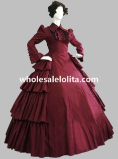 Victorian Burgundy Cotton Layered Day Dress Theatre Reenactment Costume